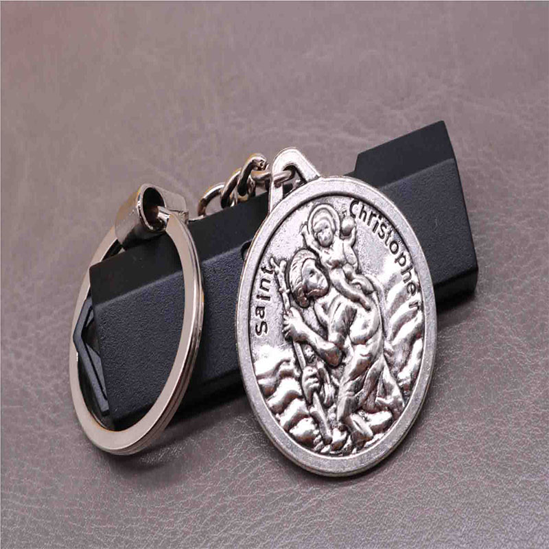 New classic charm St. Christopher key chain, Jesus cross car keychain, handbag, Christmas gift souvenir
