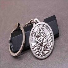 Novo clássico charme st. christopher chaveiro, jesus cruz chaveiro do carro chave, bolsa, presente de natal lembrança