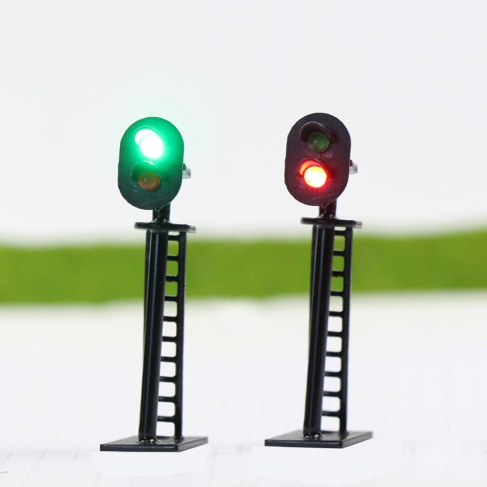 5pcs Model Railway 2-Light Block Signal Green/Red N Scale 4cm 12V Led JTD05 model traffic signals led lights model building kit