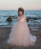 2018 розовые платья для девочек с цветочным узором тюль Принцесса праздничное платье Вечерние платья на заказ