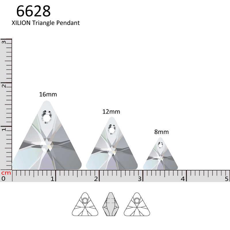 (1 Unidad) colgante triangular de XILION 100% CRISTAL DE Swarovski Original 6628 de Austria, cuentas de diamantes de imitación para hacer joyería DIY