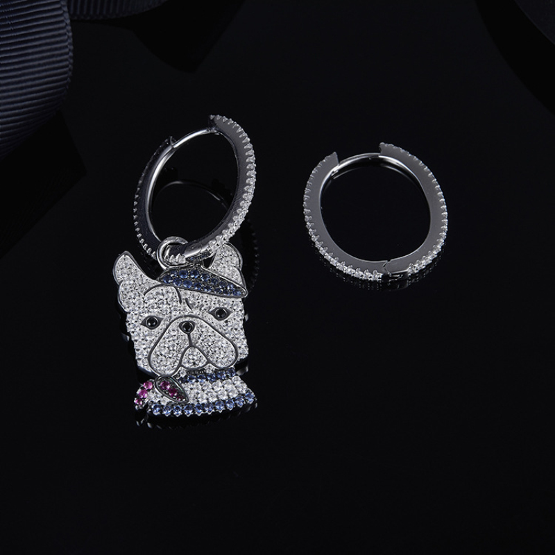 S925 Sterling Silver Asymmetric Zircon Dark Blue 'Doggy' Dog Earrings Stylish Fits APM Monaco Jewelry with Female Gifts