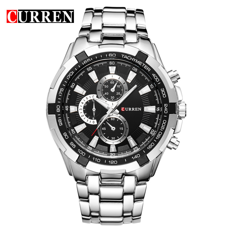 CURREN Luxury Brand Men Military Sport Watches Men's Quartz Male Clock Full Steel Waterproof Wrist Watch Relogio Masculino genuine curren brand design leather military men cool fashion clock sport male gift wrist quartz business water resistant watch