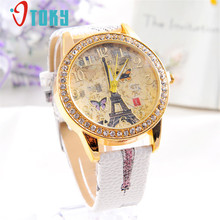 Fashion Women Watches Paris Style Tower Butterfly PU Leather Watch Creative Mar20