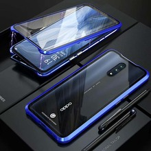 Luxury Magnetic Front And Back Glass Case 360 Full Body Transparent Cover Metal Bumper For OPPO Reno 6.4 inch Coque KS0152