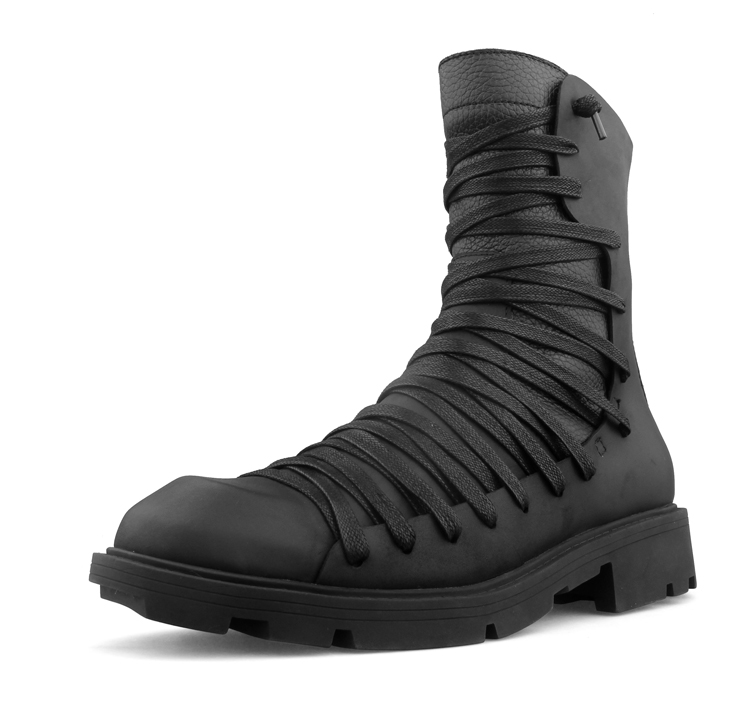 Winter Black Mens Italian Desert Boots Short Motorcycle Boots Autumn High Top Bandage Genuine Leather Martin Boots Sapatos