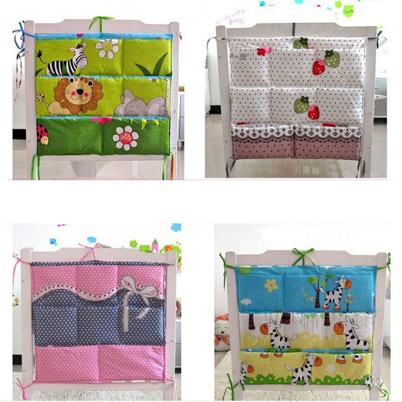 Cartoon Rooms Nursery Hanging Storage Bag Baby Cot Bed Crib Organizer  60*52cm Toy Diaper Pocket for Newborn Crib Bedding Set