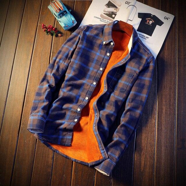 d78fb480613 2018 Shirt Men Plaid Flannel Shirts Mens Casual Autumn Winter Spring Thick  Warm Fleece Cotton Long Sleeve Shirt Camisa Masculina