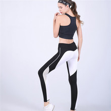 2017 New LoRun Sexy Women Yoga Pants White Mesh Patchwork Running Gym Leggings Slim Fit Compression Sport Suit Trousers for Girl