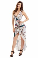 Deep Plunge V Neck Boho Dress Summer Beach Wear Belt Women Chic Chain Print High Split