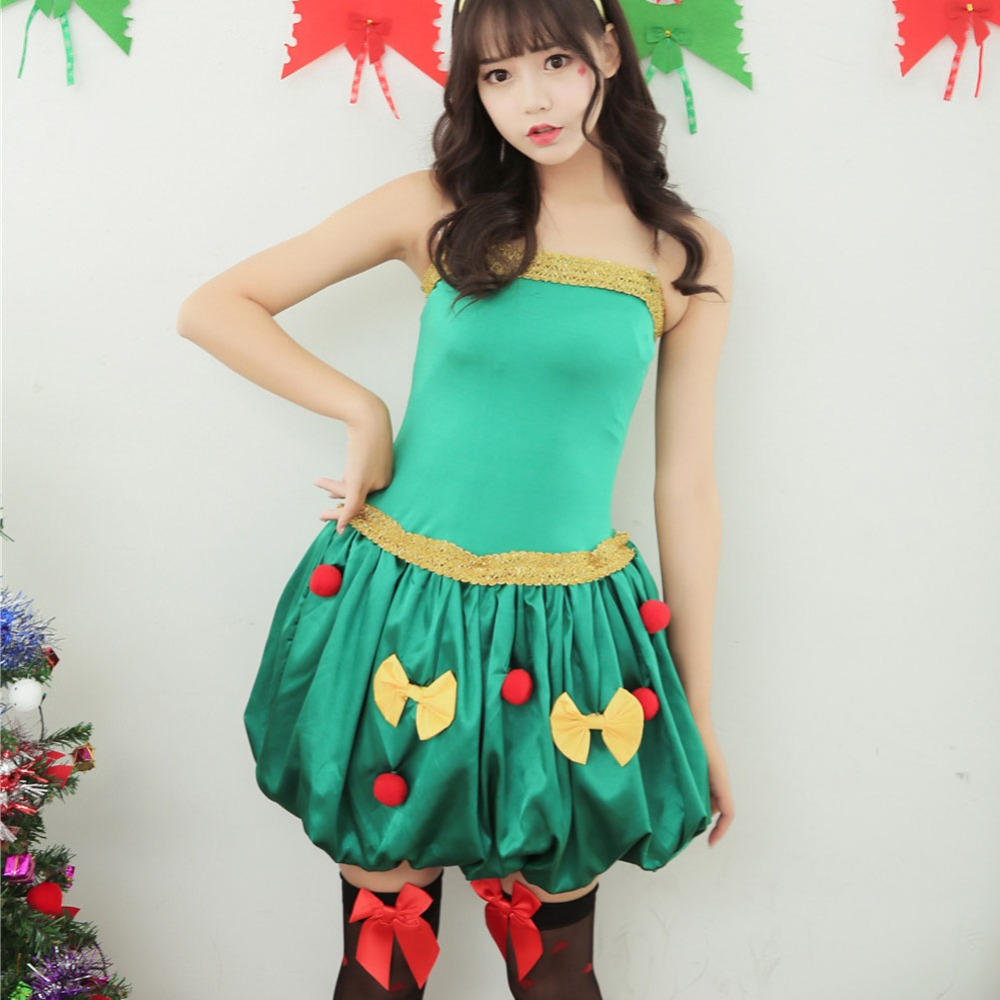 Hot Sexy Christmas costumes Women Ball Gown Dress Green Christmas ...