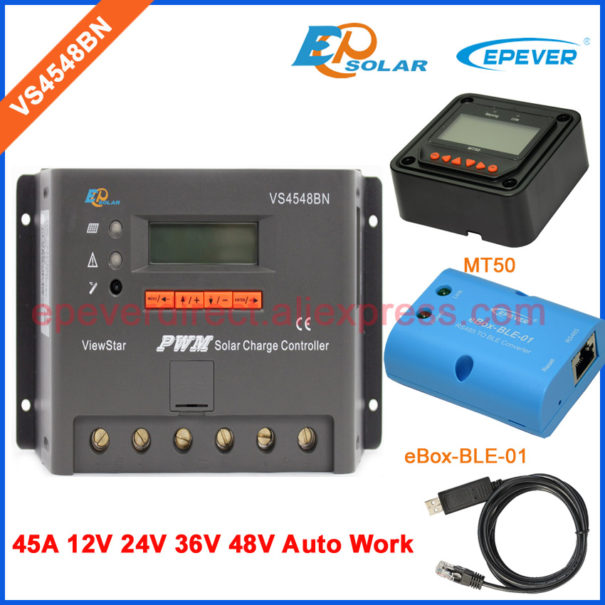 45A 45amp New PWM solar controller VS4548BN 12v 24v 36v 48v auto work EPEVER bluetooth USB cable and meter MT50 pwm new viewstar series solar battery charge controller vs4548bn 45a 45amp epever epsolar 12v 24v 36v 48v auto work