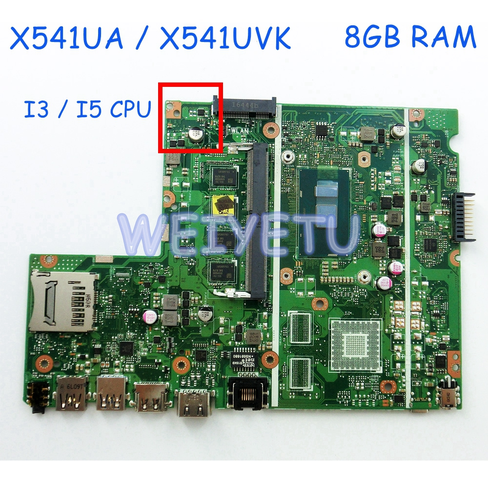 X541UAK 8GB DDR4 RAM With I3 I5CPU Motherboard For ASUS X541U X541UA X541UAK X541UVK X541UV X541UJ Laptop Mainboard 100% Tested