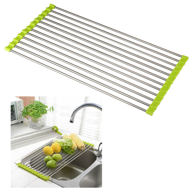Style Stainless Steel Kitchen Sink Folding Draining Board Rollable Drying  Rack For