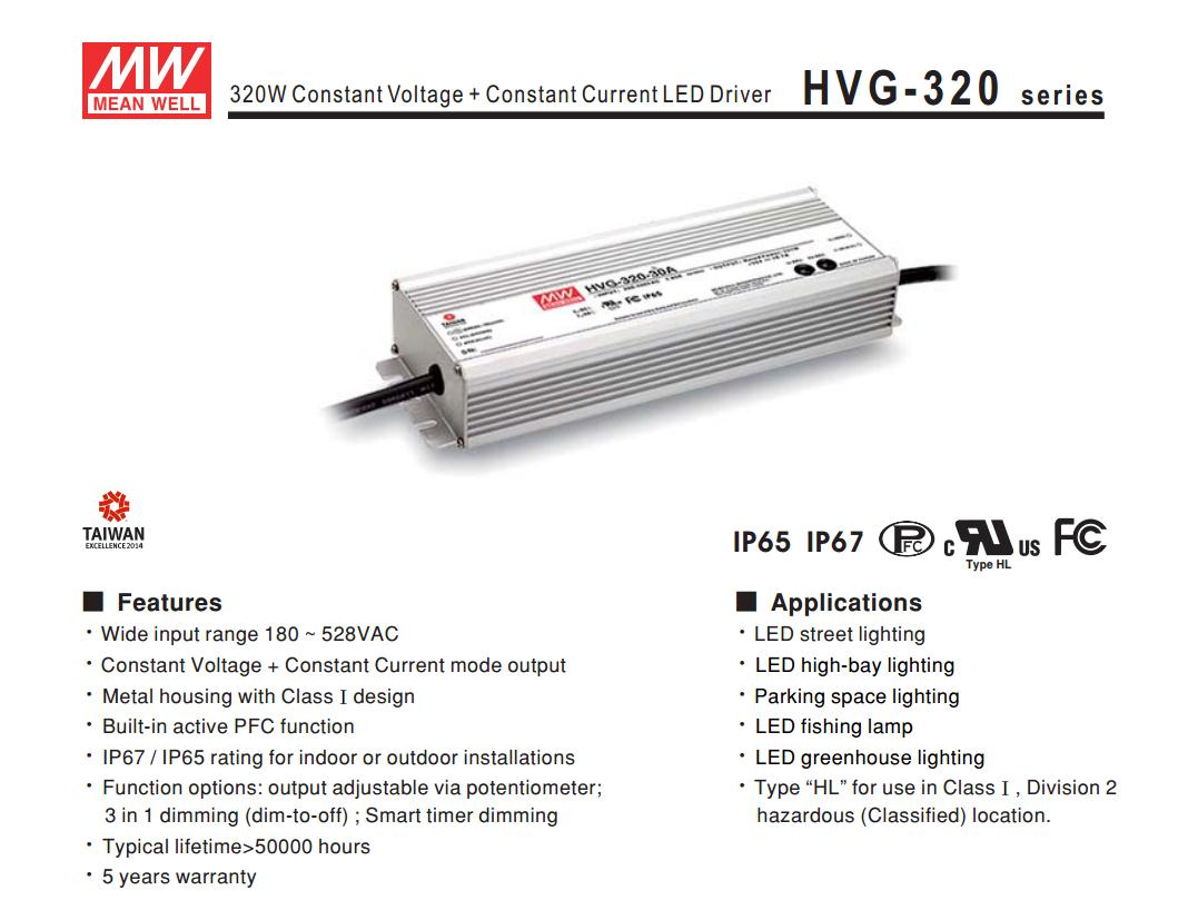 все цены на  1MEAN WELL original HVG-320-24B 24V 13.4A meanwell HVG-320 24V 321.6W Single Output LED Driver Power Supply B type  онлайн