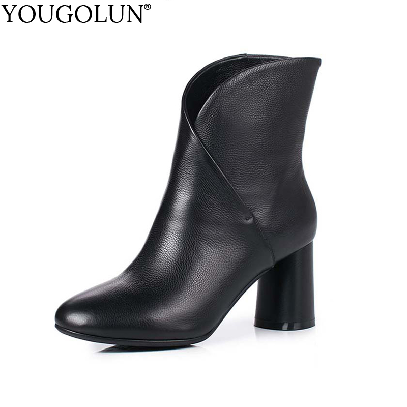 YOUGOLUN Women Ankle Boots 2018 Autumn Winter Genuine Leather Thick Heel 7.5 cm High Heels Black Yellow Round toe Shoes #Y-233