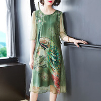L12HT1893 New Fashion 2019 Spring Women's Clothing Retro Temperament Printing Loose Big 100% Silk Dress