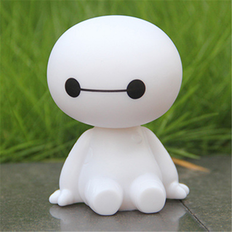 Car Ornament Cute Shaking Head Baymax Robot Decoration Auto Interior Dashboard Bobble Head Toys Accessories Gift