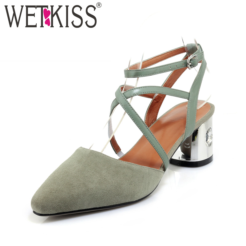 WETKISS New High Heels Summer Women Sandals Pointed Toe Strange Style Footwear 2018 Kid Suede Fashion Cross Strap Ladies Shoes wholesale lttl new spring summer high heels shoes stiletto heel flock pointed toe sandals fashion ankle straps women party shoes