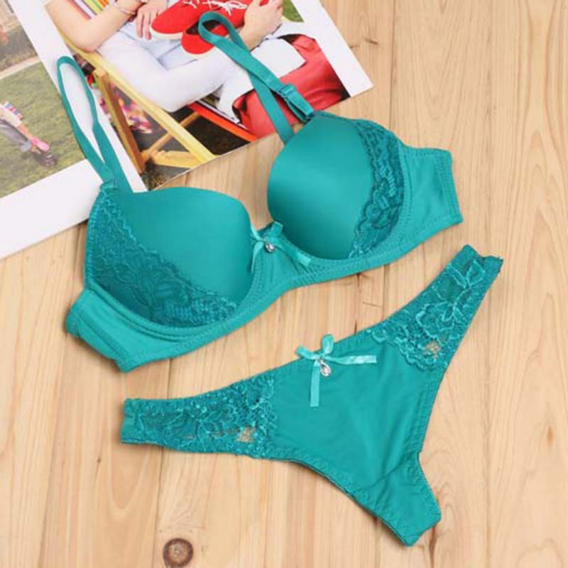 Women Comfortable Seamless Bras & Brief Sets Women Underwear Sets Adjustable Deep V Bras Lingerie Sets