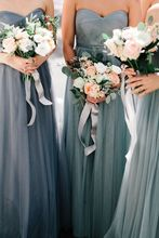 2017 Elegant Cheap Bridesmaid Dress A-line Sweetheart Grey Tulle Long New Arrival Bridesmaid Dresses