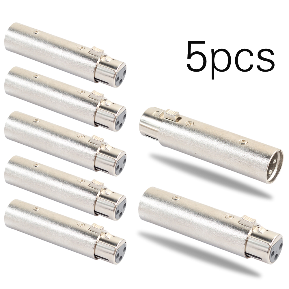 5x XLR 3Pin Male to Female Adapter Plug Socket Cable Connector for Audio Lighting Equipment 5 x rf antenna fm tv coaxial cable tv pal female to female adapter connector