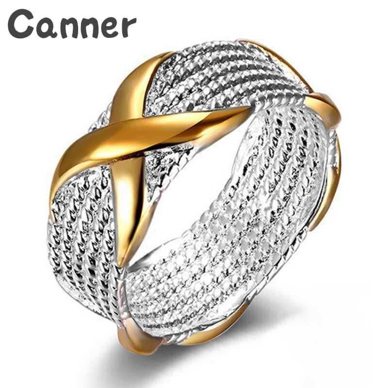 Canner เงินรอบแหวนทองสี X ข้ามรูปร่างแหวนงานแต่งงานของขวัญเครื่องประดับขนาดแหวนผู้หญิง a40