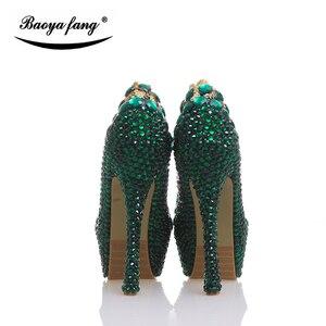 Image 5 - BaoYaFang Nữ Giày Cưới Pha Lê Xanh Ngọc Trai Cô Dâu ĐẦM DỰ TIỆC Giày Nữ Giày Nữ Giày Cao Gót Đế Giày