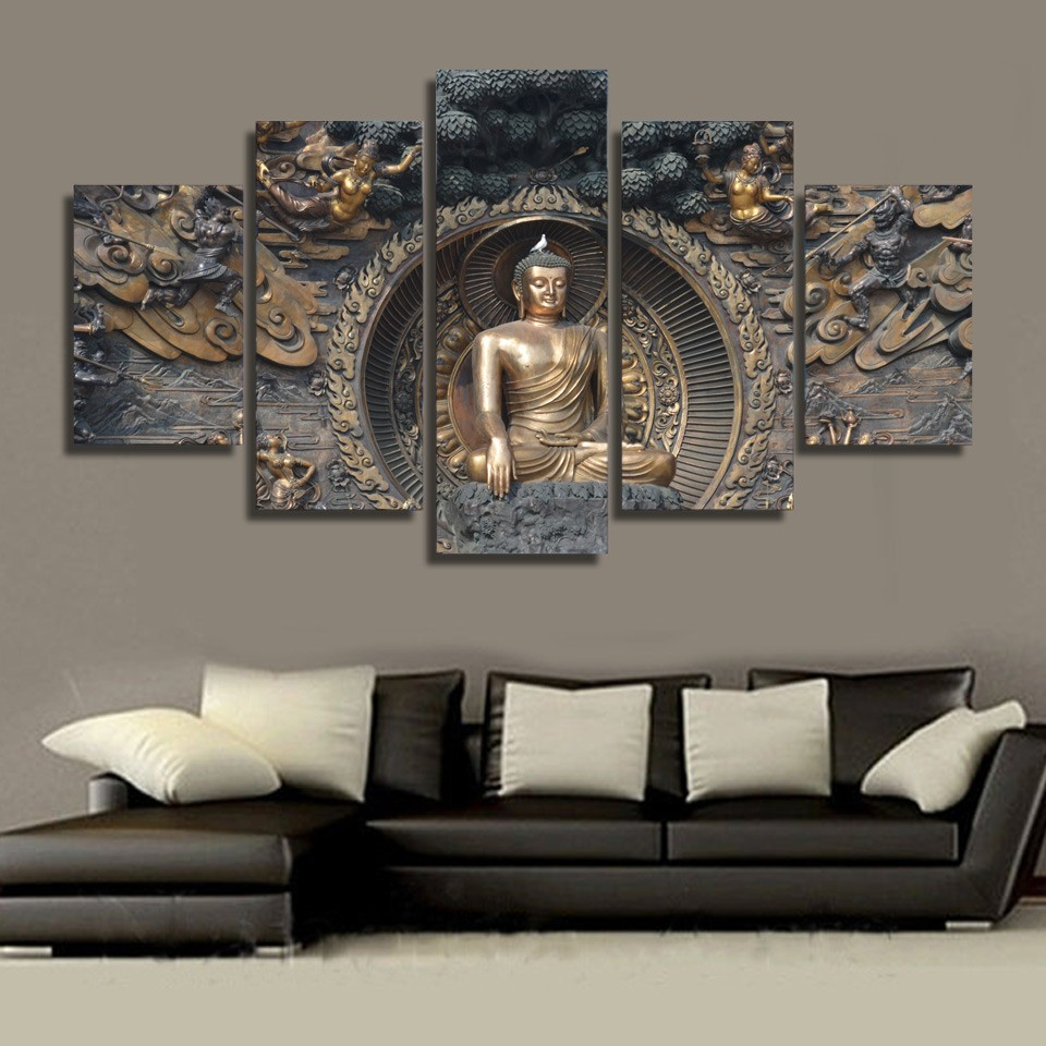 Modular Painting Wall Art Canvas Poster Frame 5 Panel Buddha Statue Buddhism
