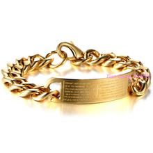 Fashion Stainless Steel Cross Shaped Bracelet for Men Gold Color Mens Chain Link Bracelet Hot Sale Jewelry
