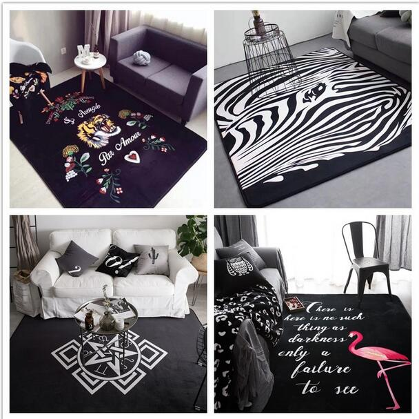 INS fashion Large Super Soft Flannel black and white Rug 15mm thick soft living room Carpet play mat Non-slip rug blanket