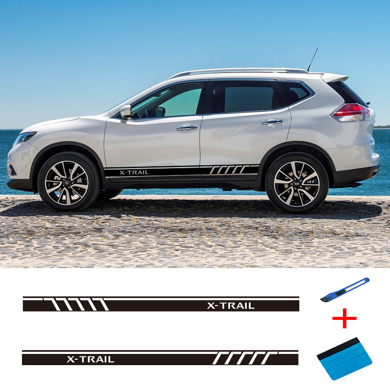 2PCS Racing Sport Door Vinyl Side Stripes Car Styling Body Decor Graphics Sticker For Nissan X-Trail