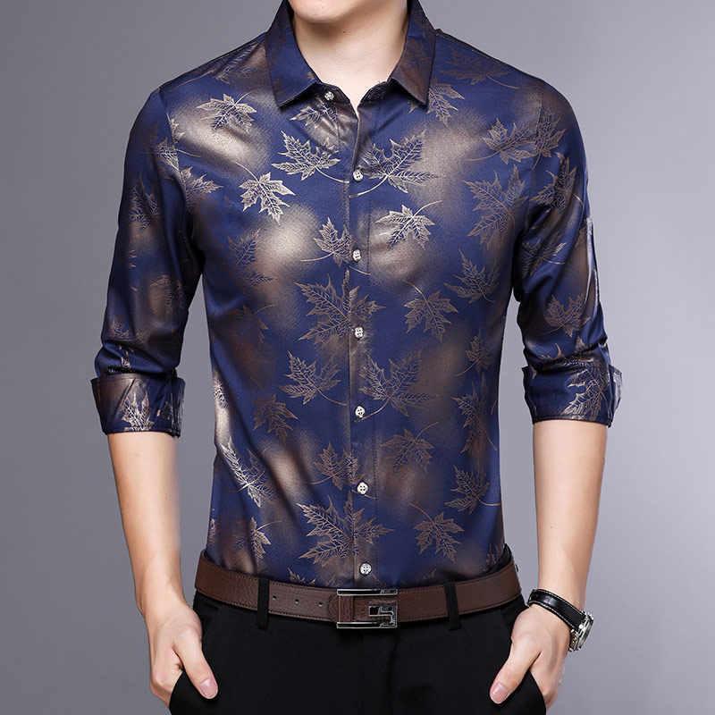 春薄型男性のシャツトップ長袖黒ストリートシャツメンズ 2019 夏ターンダウン襟カジュアル男性服