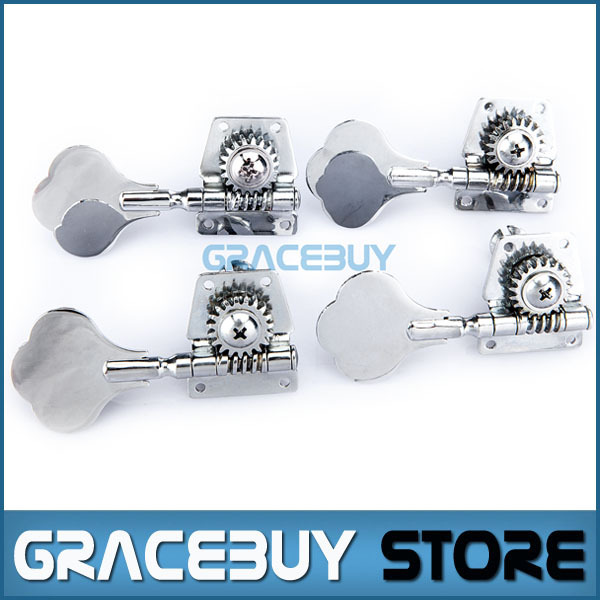 Guitar Bass Machine Heads Knobs Set Black and Silver Tuners Tuning Pegs Tuners Guitarra Parts 4R Chrome New 4r electric bass guitar tuners machine heads bass guitar tuning pegs tuning keys buttons chrome guitar parts