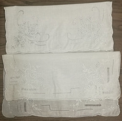 2PCS/Lot 2 different styles Handkerchiefs11.5x11.5White Linen Hand made Embroidery Vintage Floral Hankies Hanky For Bride Gifts