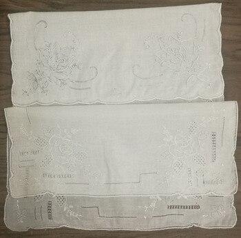 Broderie Vintage en lin blanc Hanky | 2 styles différents, en lin blanc, fait à la main, fleurs, Hankies Hanky pour cadeaux de mariée, 2 pièces/lot