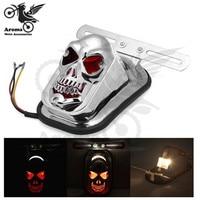 Chrome Motorcycle Tail Light For Harley Davidson Cruiser Blinker Ghost Motorbike Brake Indicator Skull Head Red