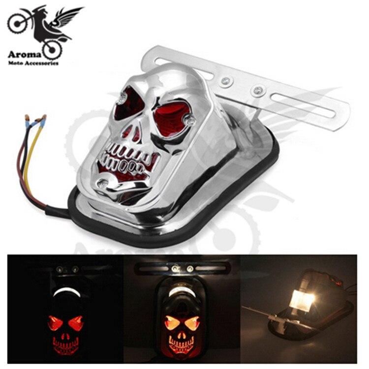 chrome motorcycle tail light for Harley Davidson cruiser blinker ghost motorbike brake indicator skull head red lighting moto