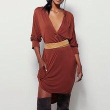 OtherLinks Brown Womens Cut Out Deep V-Neck Sexy High Waist Dress Rayon Asymmetric High-Low Hem Dress Tunic Casual Boho Beach