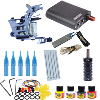 Tattoo Kit 1 Tattoo Machines 4 Colors Ink Set Power Supply Box Beginner Body Art Supplies Needles Tips Tattoo Kits