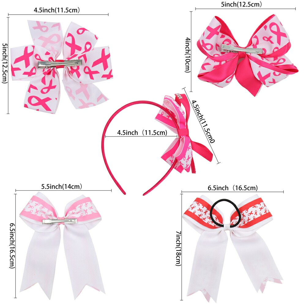 "8/"" Breast Cancer Cheer Bows With Elastic Band For Kids Girls Ribbon Hair Clips"