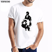 YOFOCOO Male Summer T-Shirt Print Hero O-Neck Casual T Shirt Men Cotton Short Sleeves Casual Male T-Shirt T-Shirts Men Tops Tees round neck cross print short sleeves t shirt for men