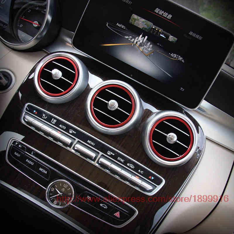 Angelguoguo Air Outlet Sticker/Instrument Panel Air Outlet Decoration Ring Sticker For Mercedes Benz 2015-2018 C Class W205  GLC