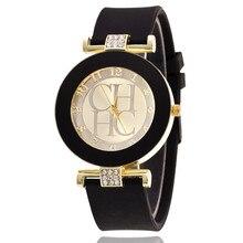 2017 Hot sale Fashion Black Geneva Casual CHHC Quartz Women watches Crystal Silicone Watches Relogio Feminino men's Wrist Watch  цена 2017