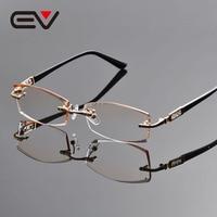 2016 New Men Brand Titanium Rimless Eyeglasses Frames Men's Rinestone Cutting Optical Eyewear Frame Gold Oculos de grau EV1261