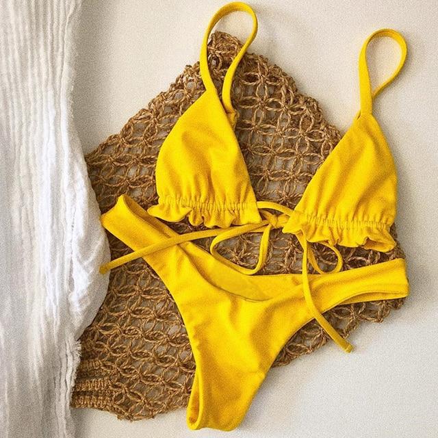 mini yellow high waist bikinis mujer micro brazilian bikini thong 2 piece swimsuit  women swimwear swim suit biquini feminino 74cbffb7f