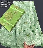 Мягкие 5 ярдов lemon зеленый Hancut Африканский швейцарский вуаль кружева соответствия Асо Оке Headtie Геле с большим количеством Блестки Кристалл б