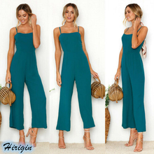 Summer Jumpsuits 2019 New Women Casual Sleeveless Square Collar Backless High Waist Solid Loose