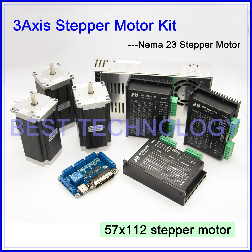 3Axis CNC controller kit  3PCS Nema23 CNC stepper motor  57x112mm + stepping Motor Driver 4A,42V + power supply + breakout board 3axis cnc controller kit 3pcs nema23 cnc stepper motor 57x76mm stepping motor driver 4a 42v power supply breakout board