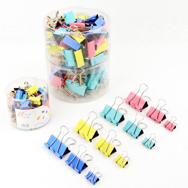 10pcs/Lot New 15mm Candy Color Metal Binder Clips Paper Clip Clamp Office School Binding Supplies